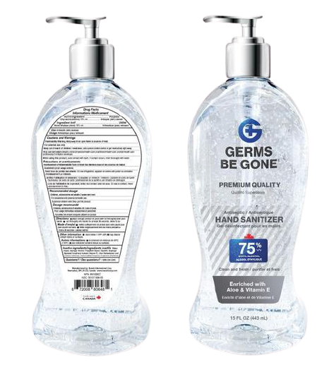 15 Oz- Germs Be Gone 75% Alcohol Hand Sanitizer