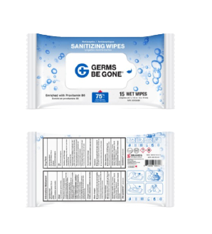 15 Count Germs Be Gone Antibacterial Sanitizing Wipes