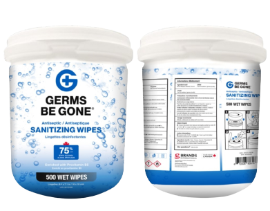 500 Count Germs Be Gone Antibacterial Sanitizing Wipes in Canister