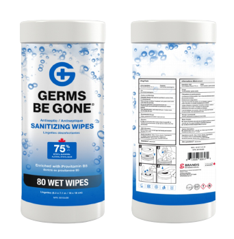 80 Count Germs Be Gone Antibacterial Sanitizing Wipes in Canister